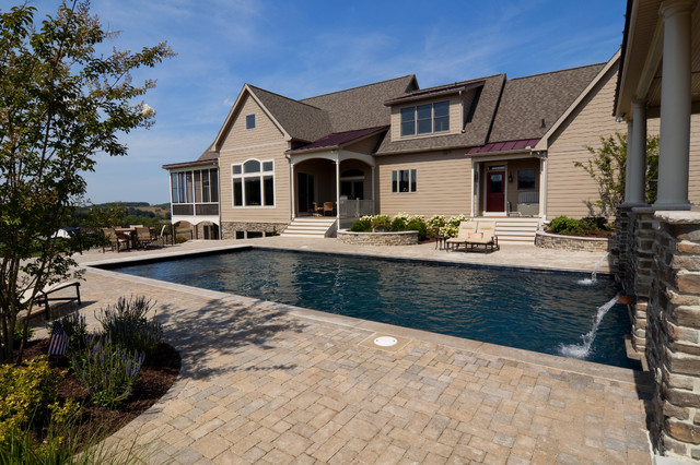 Rectangular pool and paver patio - Traditional - Pool - DC ... on Rectangle Patio Ideas id=75232