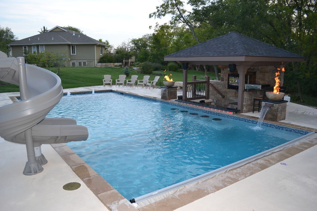 Rectangular Pool Sunken Kitchen Area Contemporary Pool Kansas City By Midwest Custom Pools