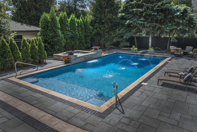 rectangular pool with deck spray water features traditional pool