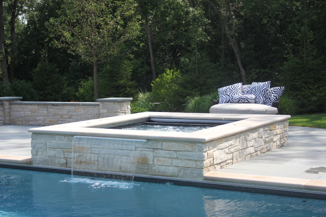 rectangular pool with raised spa traditional pool