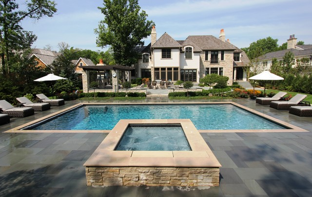 Rectangular pool with raised spa traditional pool for Raised swimming pool designs