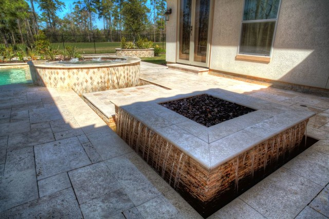 Rectangular Pool With Walkover Water Feature, Fire Pit, And Landscape  Contemporary Pool