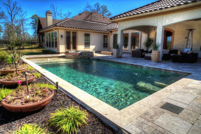 Backyard Rectangle Pools : Rectangular pool with walkover water feature, fire pit, and landscape
