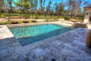 Rectangular Pool With Walkover Water Feature Fire Pit And