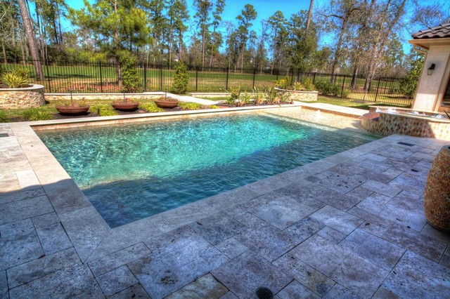 Rectangular pool with walkover water feature fire pit and landscape contemporary pool - Rectangle pool with water feature ...