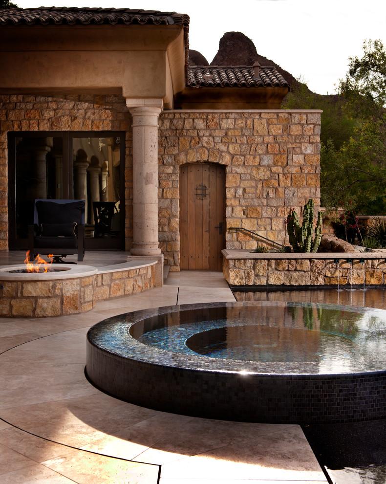 Hot tub - mediterranean hot tub idea in Phoenix