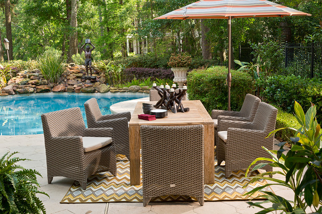 Reims Outdoor Dining Group And Arm Chairs Contemporary Pool Houston B
