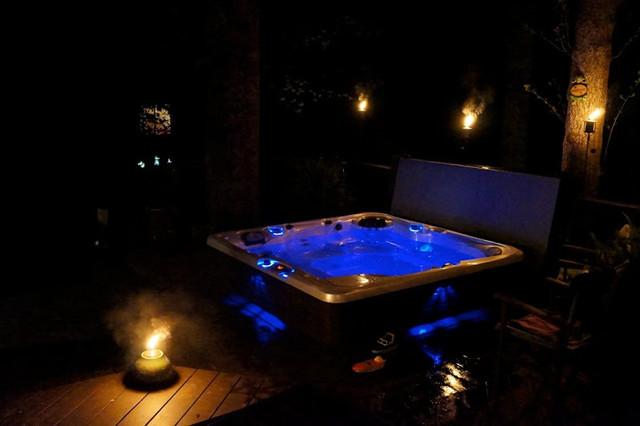 Relaxing Nighttime Hot Tub Scene In Alexandria Va