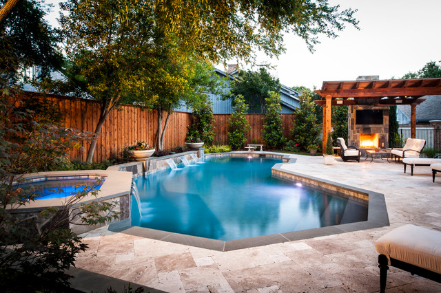 inspiration for a timeless custom shaped pool remodel in dallas - Garden Design Triangular Plot