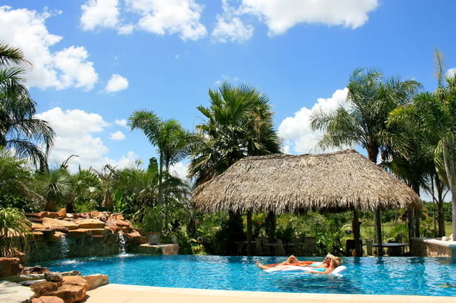 Residential Pool Landscaping And Palapa Tropical Pool