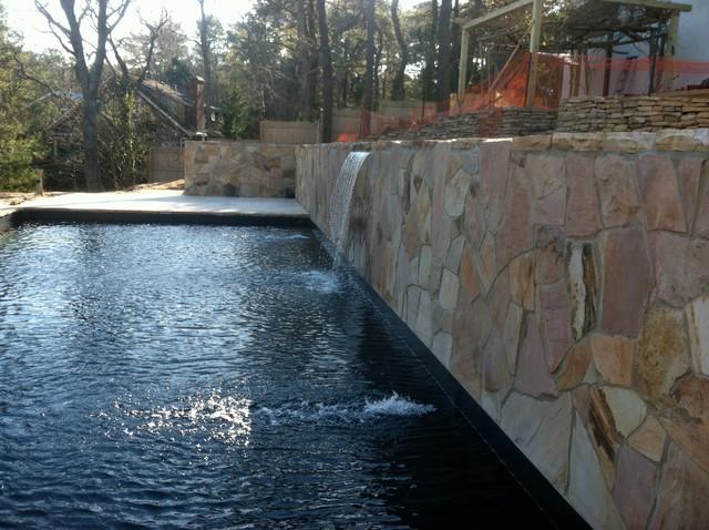 Retaining Wall Masonry With Sheer Descent Waterfall Pool Patricks Pools Builder Traditional