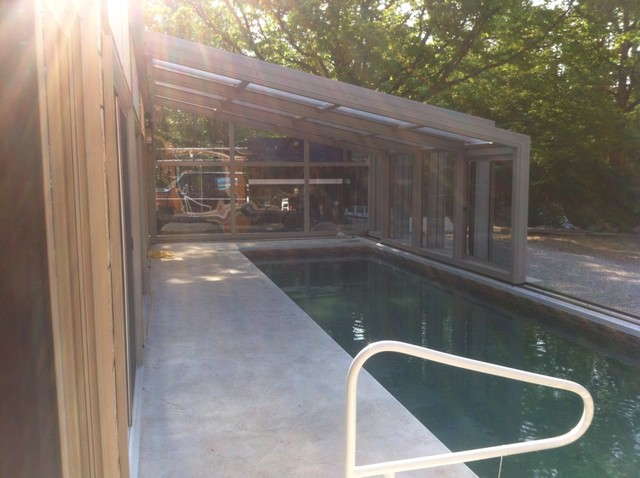 Retractable lean to pool enclosure modern pool for Telescopic pool enclosures