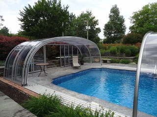 Retractable pool enclosure by abri design cover model for Pool design vancouver