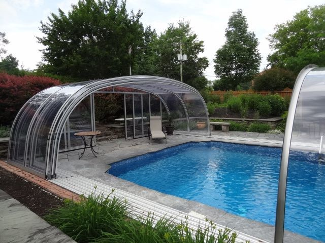 Retractable pool enclosure by abri design cover model vancouver Retractable swimming pool enclosures
