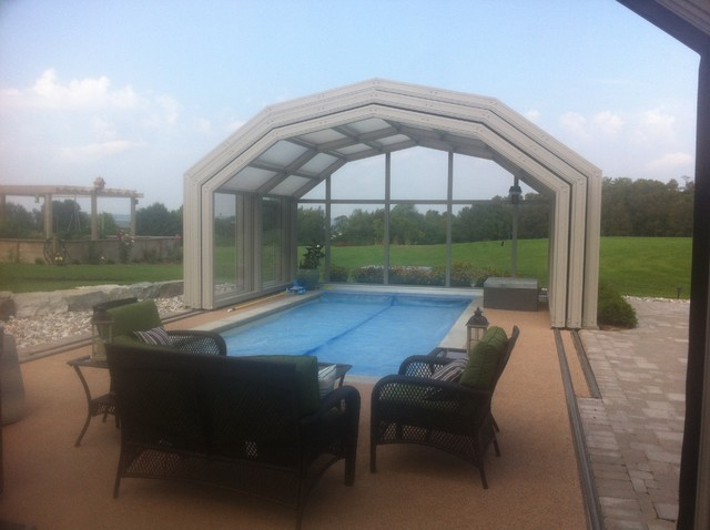 Retractable pool enclosures open with a push of a button rustic pool other by covers Retractable swimming pool enclosures