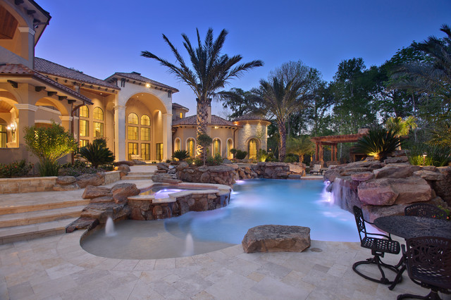 Richmond estate mediterranean pool houston by Mediterranean style homes houston