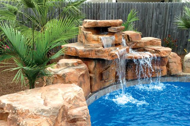 RicoRock 4 Foot Double Swimming Pool Waterfall Kit Rustic Pool
