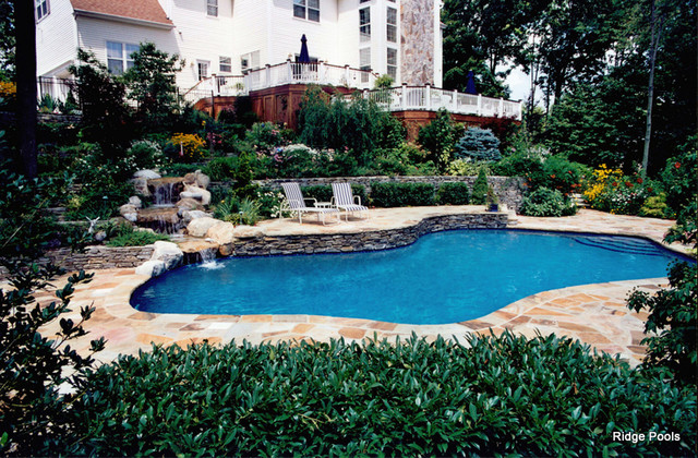 Outdoor swimming pools design garden retaining wall garden for Garden pool book