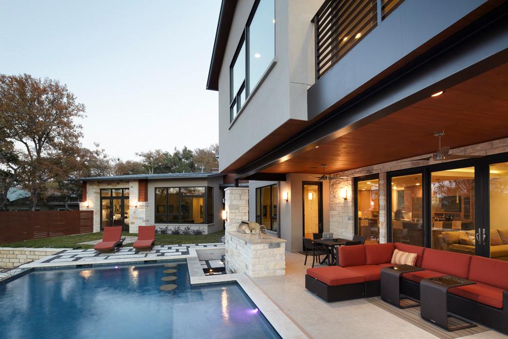 Pool - contemporary backyard pool idea in Austin