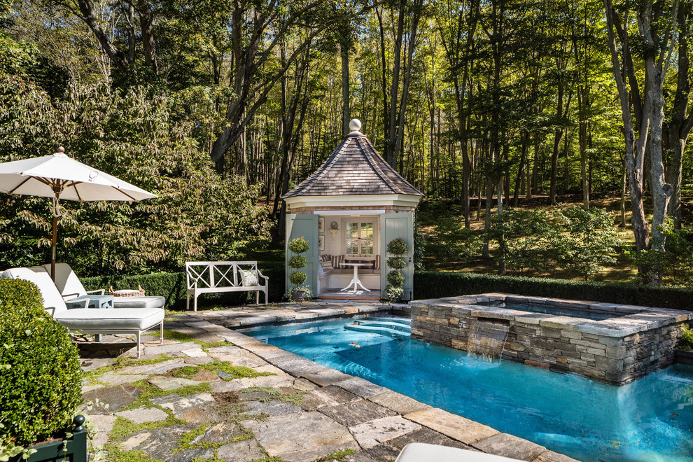 Inspiration for a timeless pool remodel in New York
