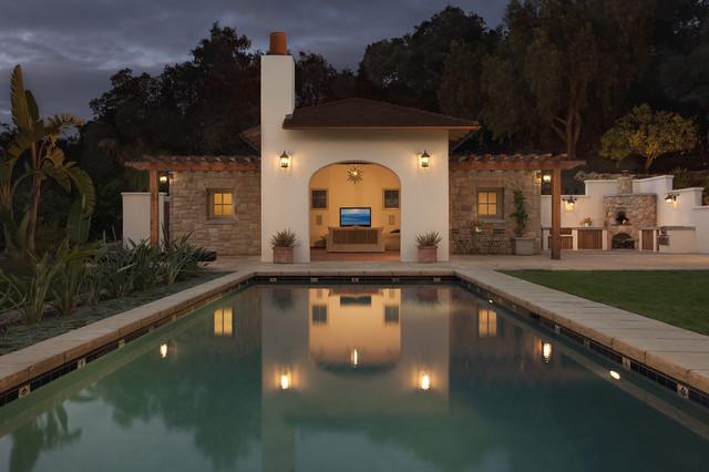 Riviera Pool House Mediterranean Pool Santa Barbara By Poirier Associates Architects