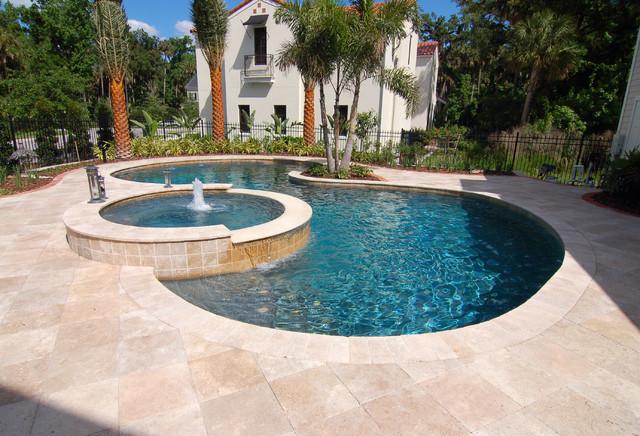 Roman blend travertine pavers mediterranean pool for Pool area tiles