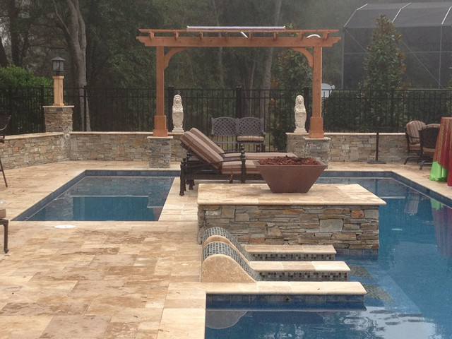 Roman blend walnut travertine pavers traditional pool for Pool design tampa