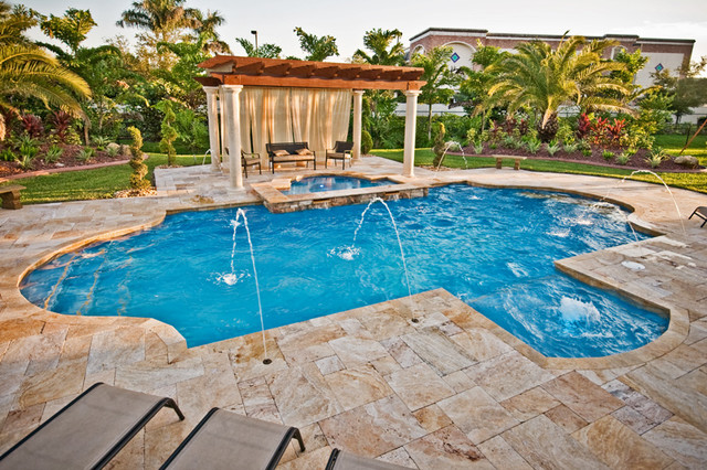 Martello roman geometric pool tropical pool miami by van kirk sons pools and spas for Miami swimming pool contractors