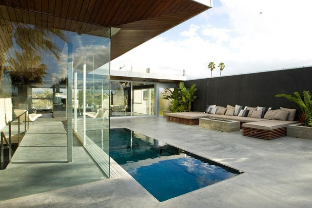 Rooftop pool perimeter overflow waveless pool contemporary swimming pool hot tub los for Swimming pool demolition los angeles