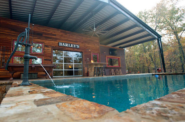 Rustic Modern New Construction Rustic Pool Dallas