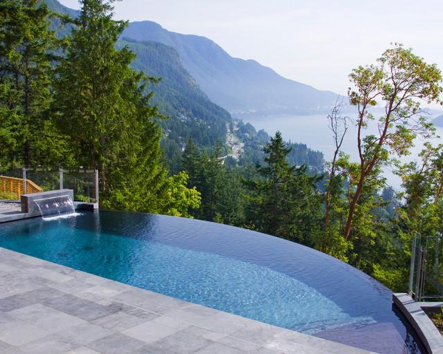 infinity pool design backyard. Inspiration For A Rustic Backyard Rectangular Infinity Pool Remodel In  Vancouver Design