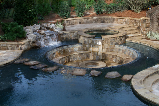 Rustic Pool with Incredible Sunken Patio Fire Pit Rustic Pool