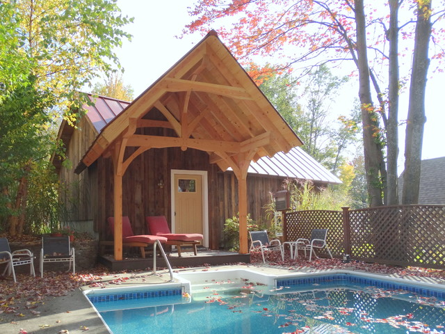 Rustic rutland pool house and garage farmhouse pool for Garage pool house