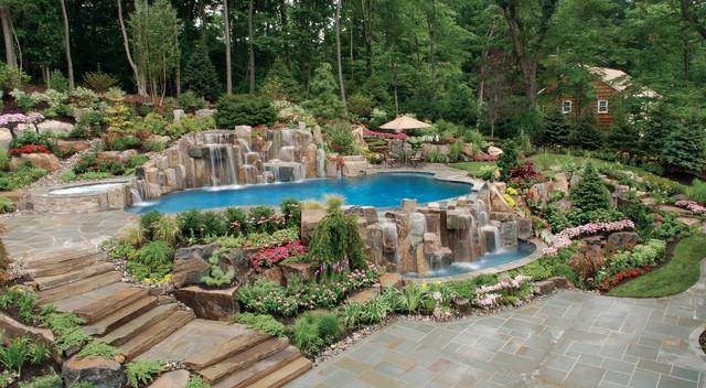 Saddle River NJ Natural Infinity Pool NJ - Mediterran ...