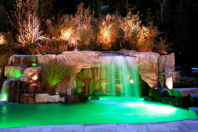 Exotic Swimming Pools With Grottos : Saddle river nj pool grotto tropical new york