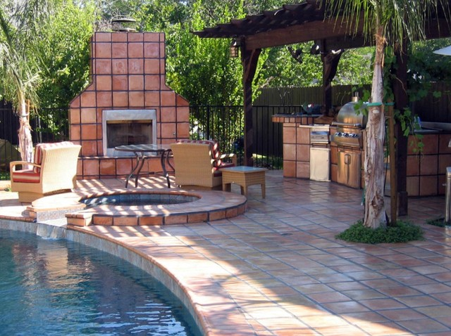 Saltillo Tile Pool Area Pool By Rustico Tile And Stone