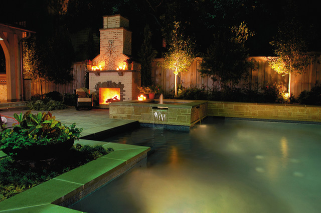 Saltwater Pool and Spa with Outdoor Fireplace eclectic pool