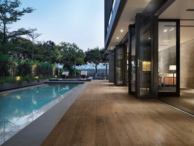 sant' agostino porcelain wood look tile - contemporary - pool