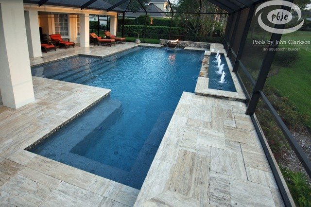 Sawgr Pool With Fire Water Bowl Traditional