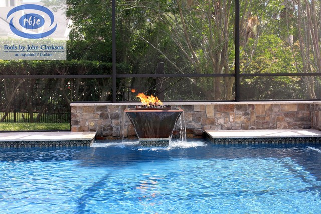 Sawgrass pool with fire water bowl contemporary pool jacksonville by pools by john - Pool fire bowls ...