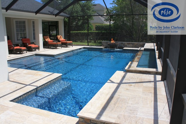 Sawgrass Pool with Fire & Water Bowl contemporary-pool