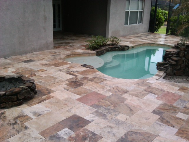 Scabos Cappadocia French Pattern Pavers traditional-pool