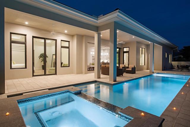 Seaside House Plan Naples FL Tropical Swimming Pool