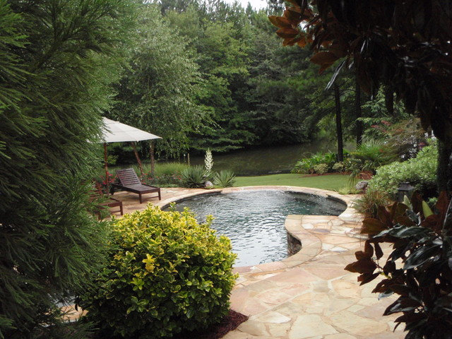 Secluded suburban backyard retreat by lawns by hand inc for Uniform swimming pool spa and hot tub code 2012 edition
