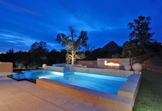 Sedona Vanishing Edge Glass Tile Pool Spa Modern Pool