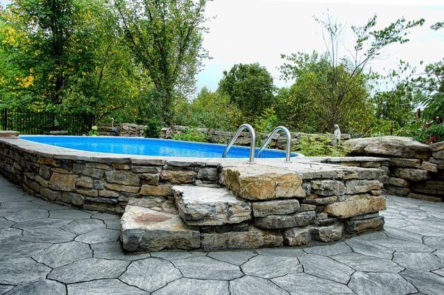 Semi Inground Pools Traditional Swimming Pool Hot Tub