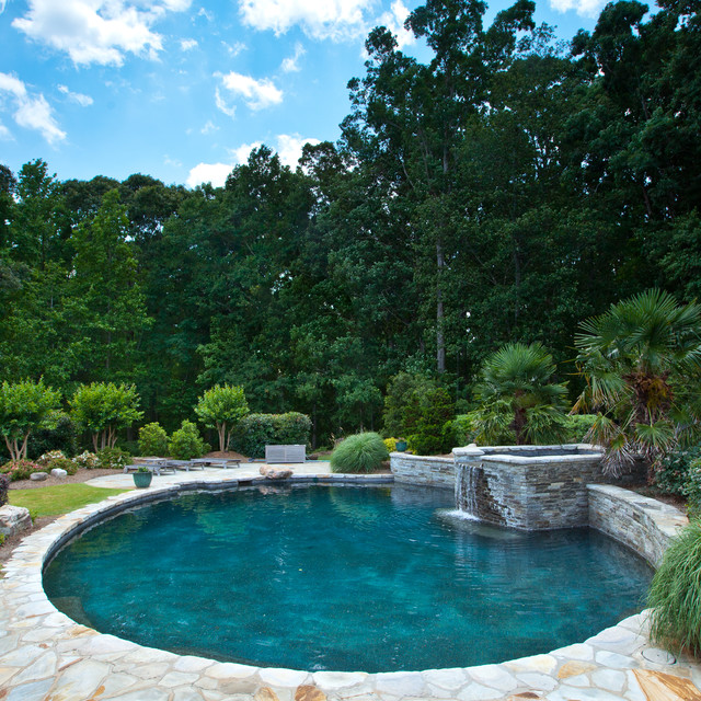 Serene pool elevated spa traditional swimming pool for Traditional swimming pool designs