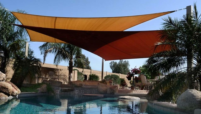 Shade Sails Over Pool traditional-pool