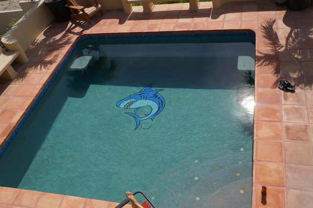 Shark Swimming Pool Mural Modern Pool Los Angeles By Agape Tile Llc