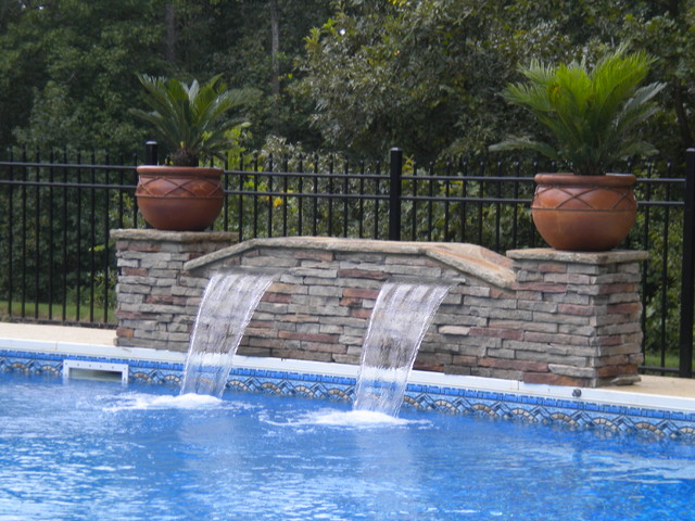 Sheer descent fountain for Swimming pool fountains waterfalls